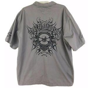 Harley Davidson Skull Shirt Short Sleeve Gray XL